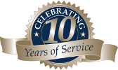 Celebrating 10 Years of Service seal